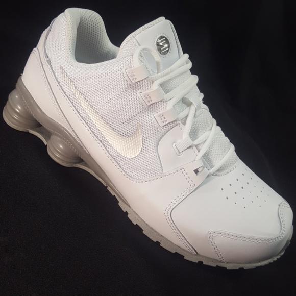 f07546b4328f  NEW  NIKE SHOX AVENUE SNEAKER Boy3Y White Leather